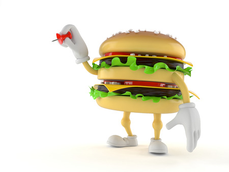 drawing pin: Hamburger character holding thumbtack isolated on white background Stock Photo