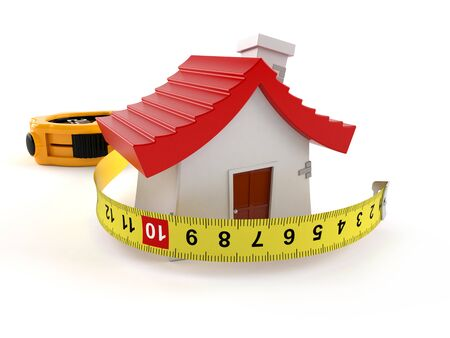 House with measuring tape isolated on white background