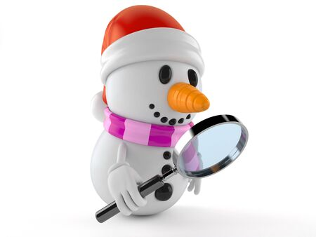 Snowman character looking through magnifying glass isolated on white background