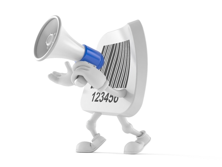 Barcode character speaking through a megaphone isolated on white background