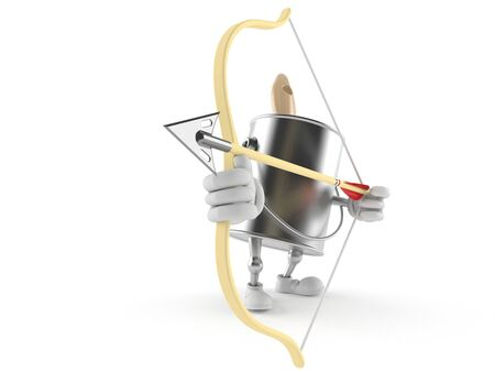 paintcan: Paint can character aiming with bow isolated on white background