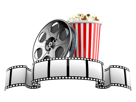 Film strip with film reel and popcorn isolated on white background