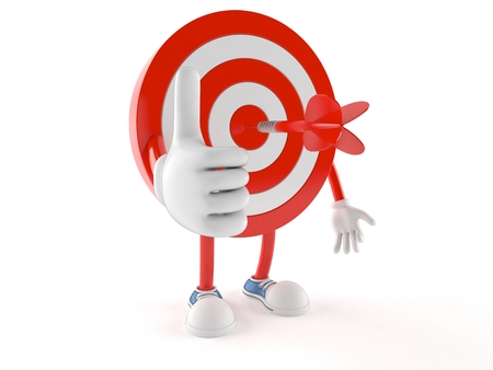 Bulls eye character with thumbs up isolated on white background