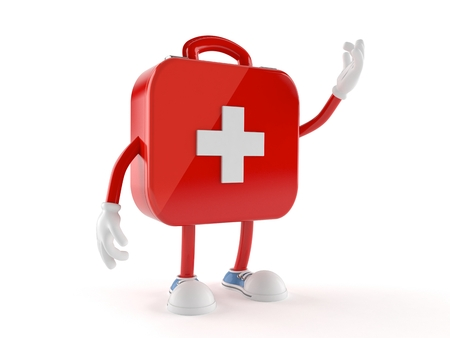 First aid kit character isolated on white background