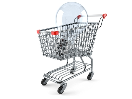 Shopping cart with Light bulb isolated on white background Stock Photo
