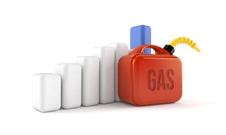 gas can: Gasoline can with chart isolated on white background Stock Photo