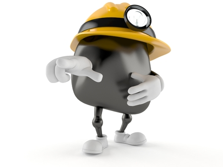 Miner character pointing on white background
