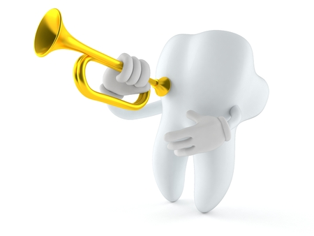 Tooth character playing the trumpet isolated on white background Stock Photo