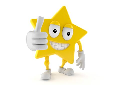 Star character with thumbs up gesture isolated on white background