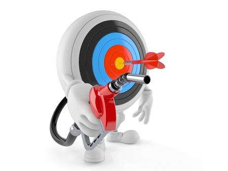 Bulls eye character holding gasoline nozzle isolated on white background