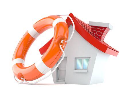 House with life buoy isolated on white background