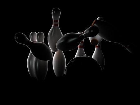 Bowling strike on dark background