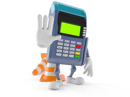 Het karakter van de creditcardlezer met verkeerskegel op witte achtergrond wordt geïsoleerd die
