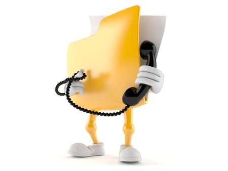 old telephone: Folder character holding a telephone handset isolated on white background