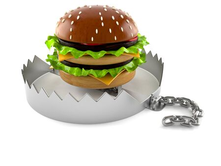bear trap: Hamburger with bear trap isolated on white background Stock Photo
