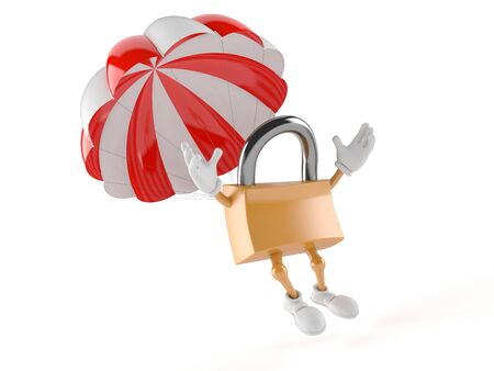 private access: Padlock character with parachute isolated on white background