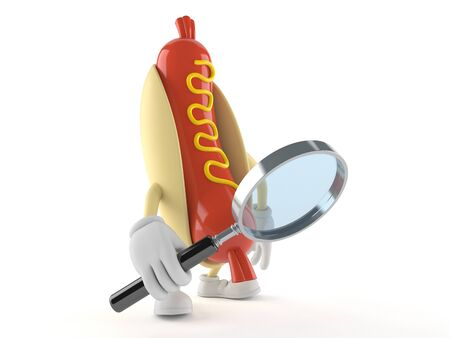 Hot dog character looking through magnifying glass isolated on white background Stock Photo