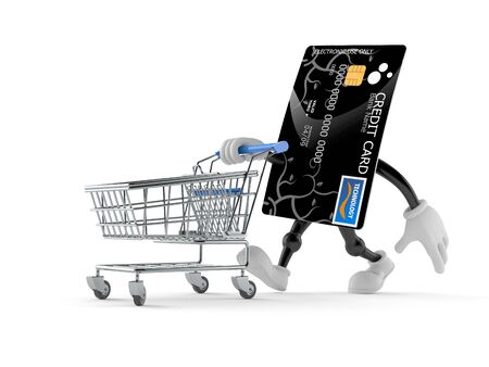 Credit card character with shopping cart isolated on white background