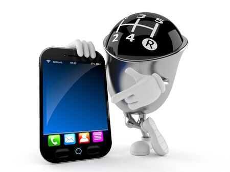 mobile app: Gear knob character with smart phone isolated on white background Stock Photo