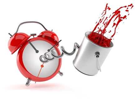paintcan: Paint can with alarm clock isolated on white background
