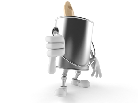 paintcan: Paint can character with thumb down isolated on white background
