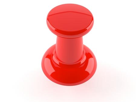 Red thumbtack isolated on white background