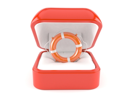 Ring box with life buoy isolated on white background