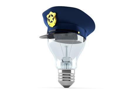 白い背景で隔離の電球警察帽子