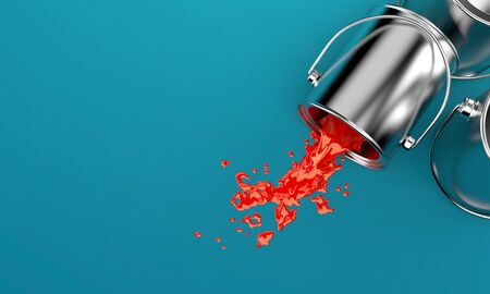 paintcan: Paint buckets on blue background
