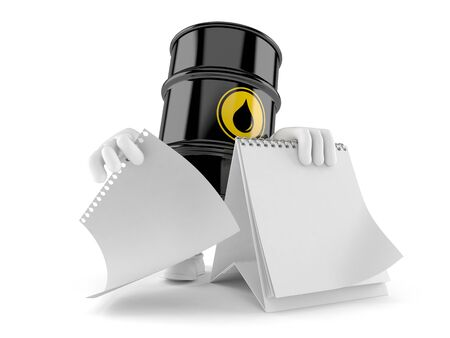 gas can: Oil barrel character with blank calendar isolated on white background