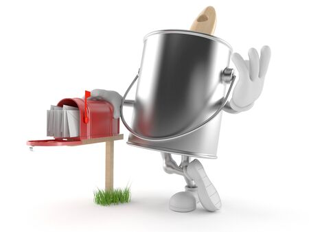 paintcan: Paint can character with mailbox isolated on white background Stock Photo