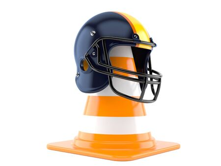 Football helmet with traffic cone isolated on white background Stock Photo