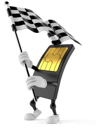 SIM card character waving race flag isolated on white background Stock Photo