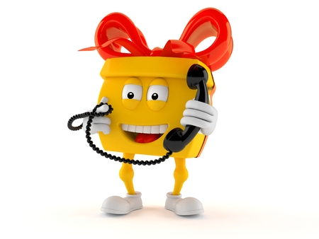 Gift character holding a telephone handset isolated on white background Stock Photo