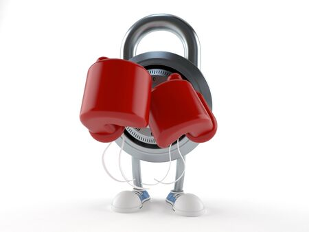 Combination lock character with boxing gloves isolated on white background Stock Photo