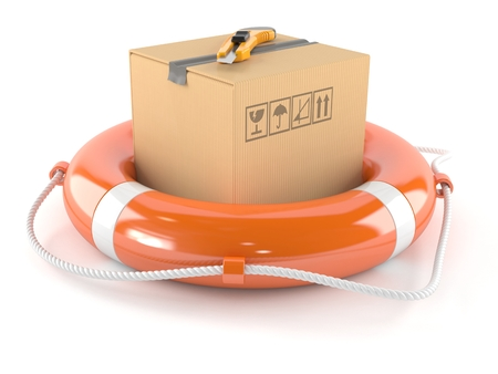 boxcutter: Package with life buoy isolated on white background Stock Photo