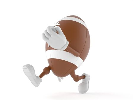 Rugby character running on white background Stock Photo