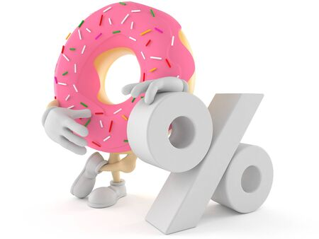 Donut character with percent symbol isolated on white background