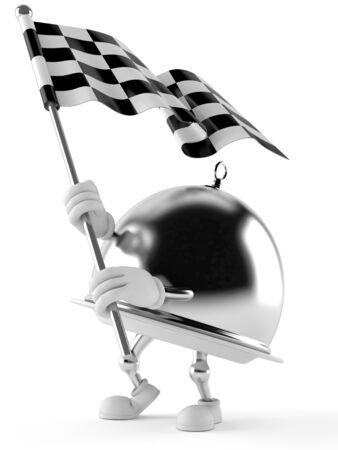 Silver catering dome with racing flag isolated on white background