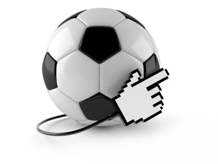 Soccer ball with cursor icon isolated on white background