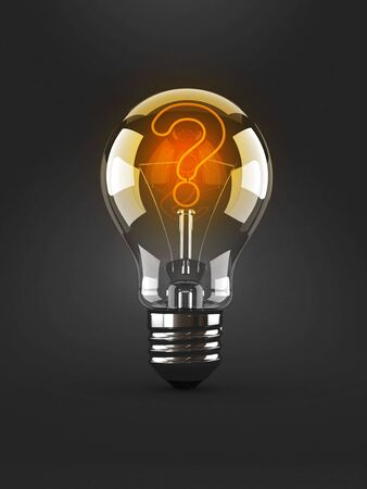 Light bulb with question mark isolated on gray background