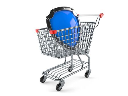 Shopping cart with shield isolated on white background Stock Photo
