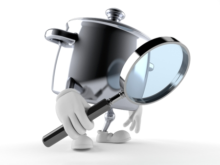 Kitchen pot character looking through magnifying glass isolated on white background