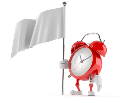 Alarm clock character with blank flag isolated on white background