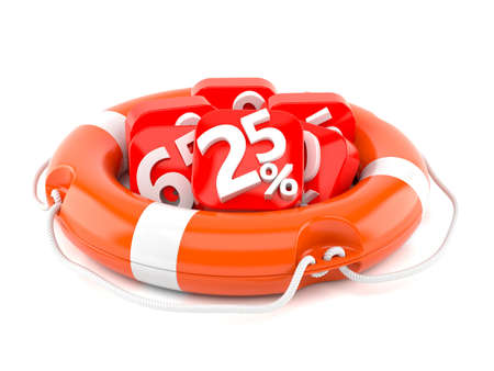 Life buoy with percent numbers isolated on white background Stock Photo