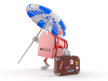Mailbox character with luggage isolated on white background Stock Photo