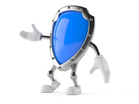 Shield character isolated on white background