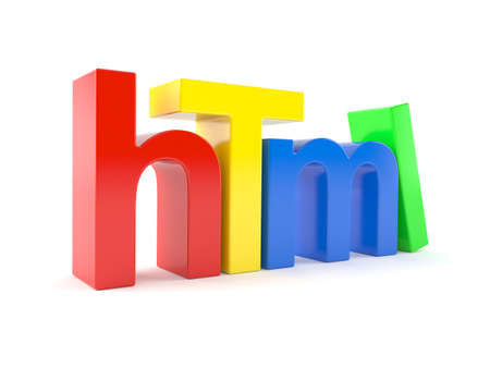 html: HTML letters isolated on white background