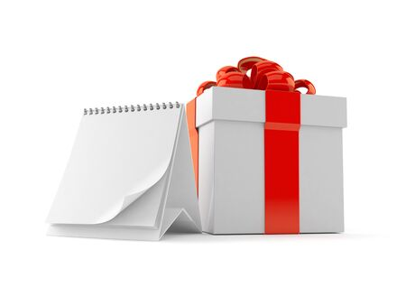 Gift with blank calendar isolated on white background