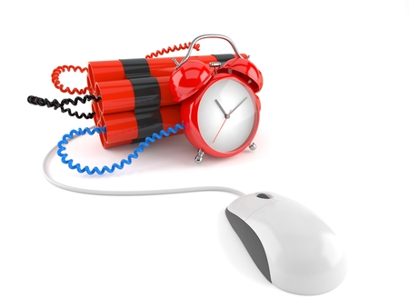 Time bomb with computer mouse isolated on white background
